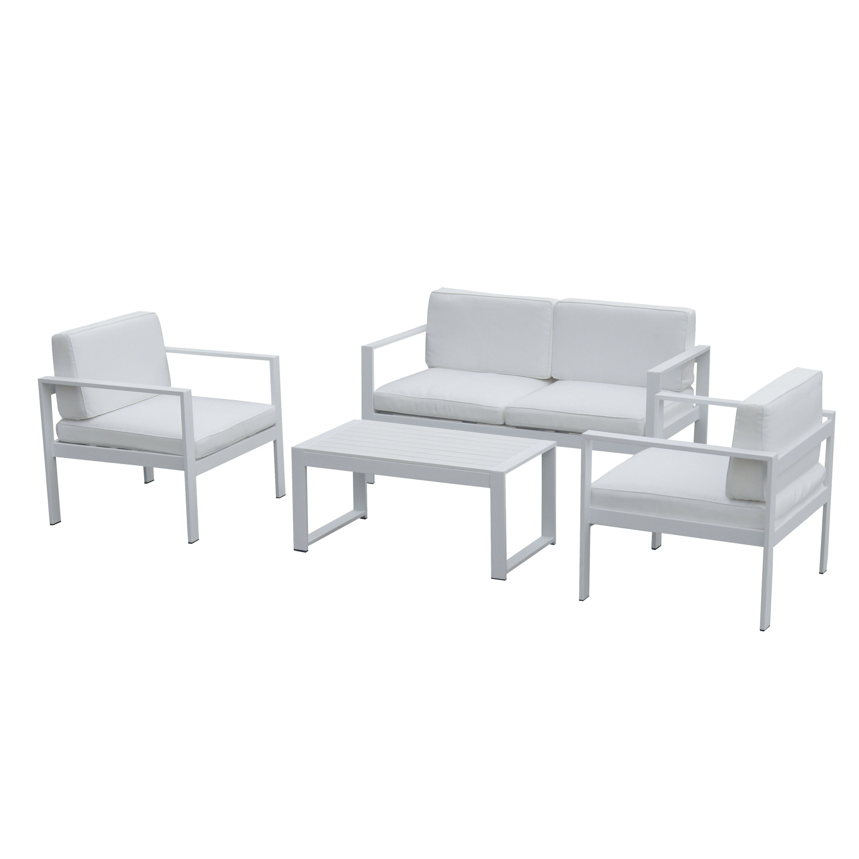 Shop Pangea Home Karen Fabric/ Aluminum 4 Piece Sofa Set – Free Inside Karen Sofa Chairs (View 17 of 25)