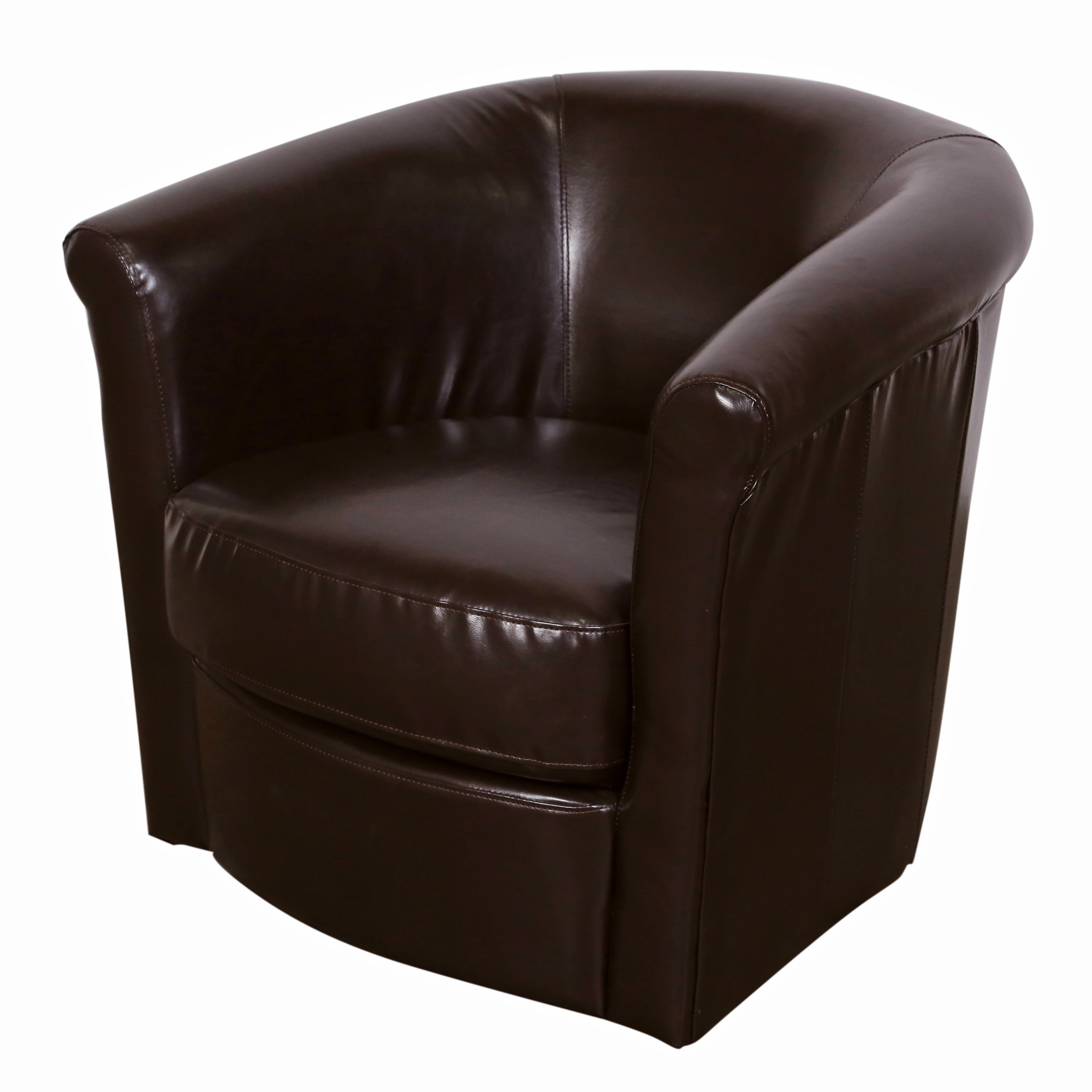 Shop Porter Marvel Espresso Brown Swivel Barrel Accent Chair – Free Within Espresso Leather Swivel Chairs (Image 23 of 25)
