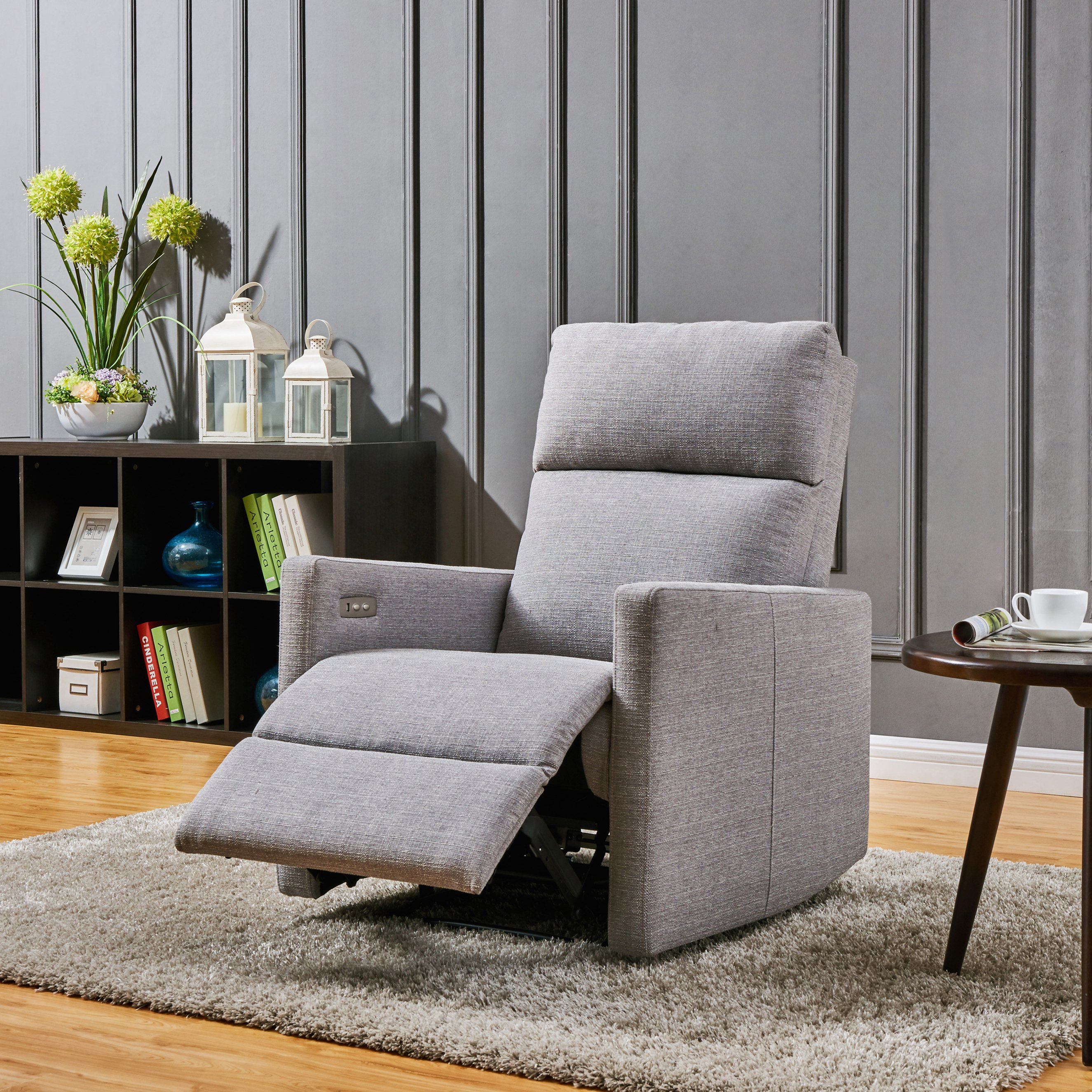 Shop Prolounger Grey Power Wall Hugger Recliner Chair With Usb Port Inside Harbor Grey Swivel Accent Chairs (Image 22 of 25)