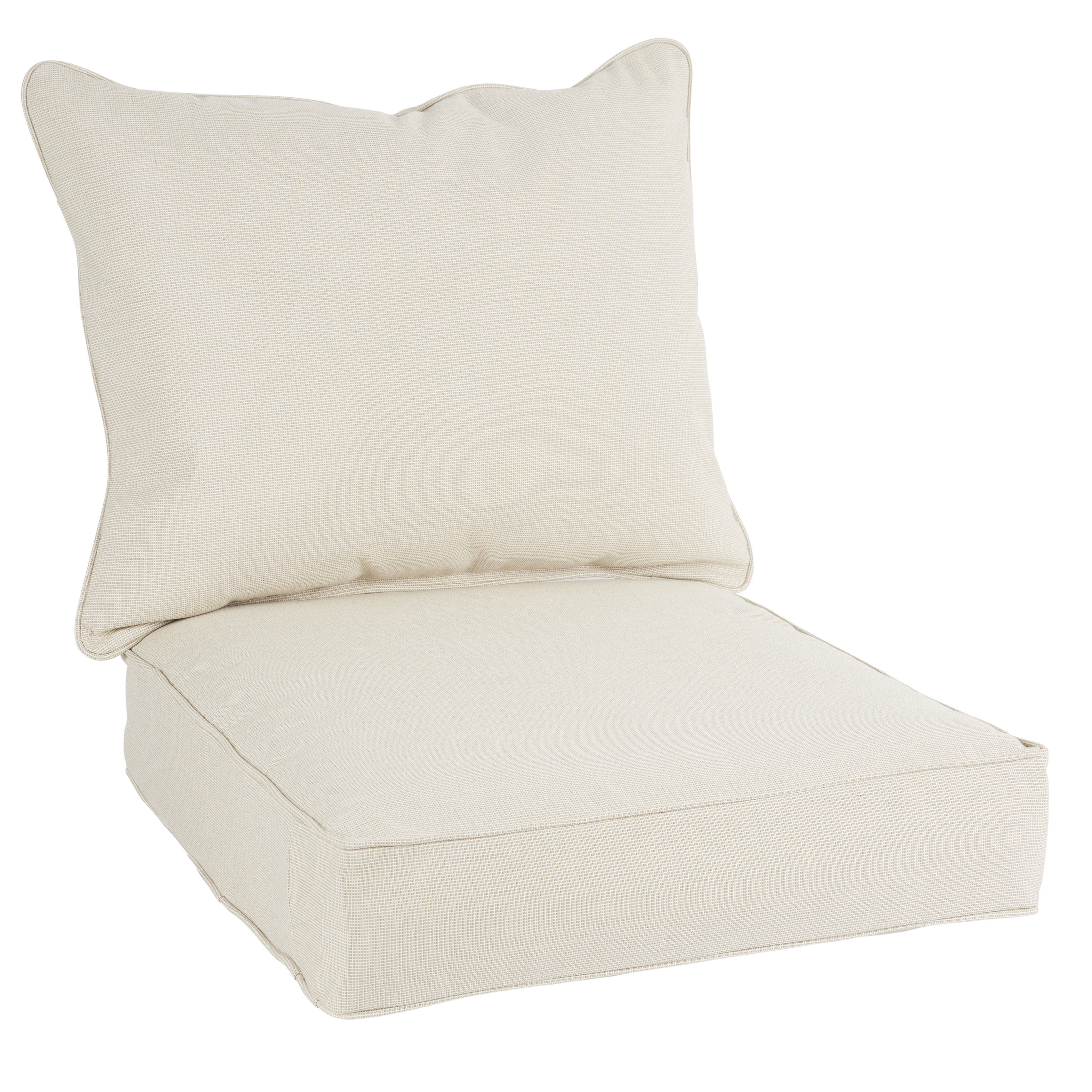 Shop Quinn Sunbrella Volt Sand Indoor/ Outdoor Chair Corded Cushion Intended For Quinn Teak Sofa Chairs (Image 19 of 25)