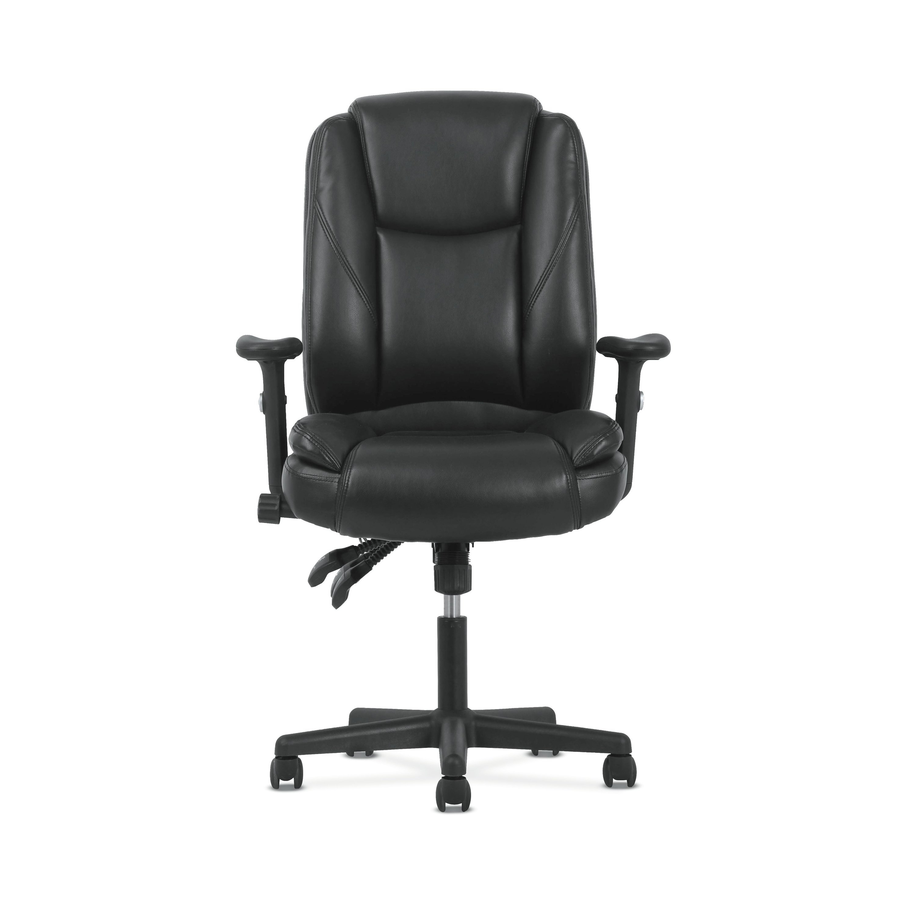 Shop Sadie Black Softhread Leather High-Back Adjustable Swivel with regard to Sadie Ii Swivel Accent Chairs