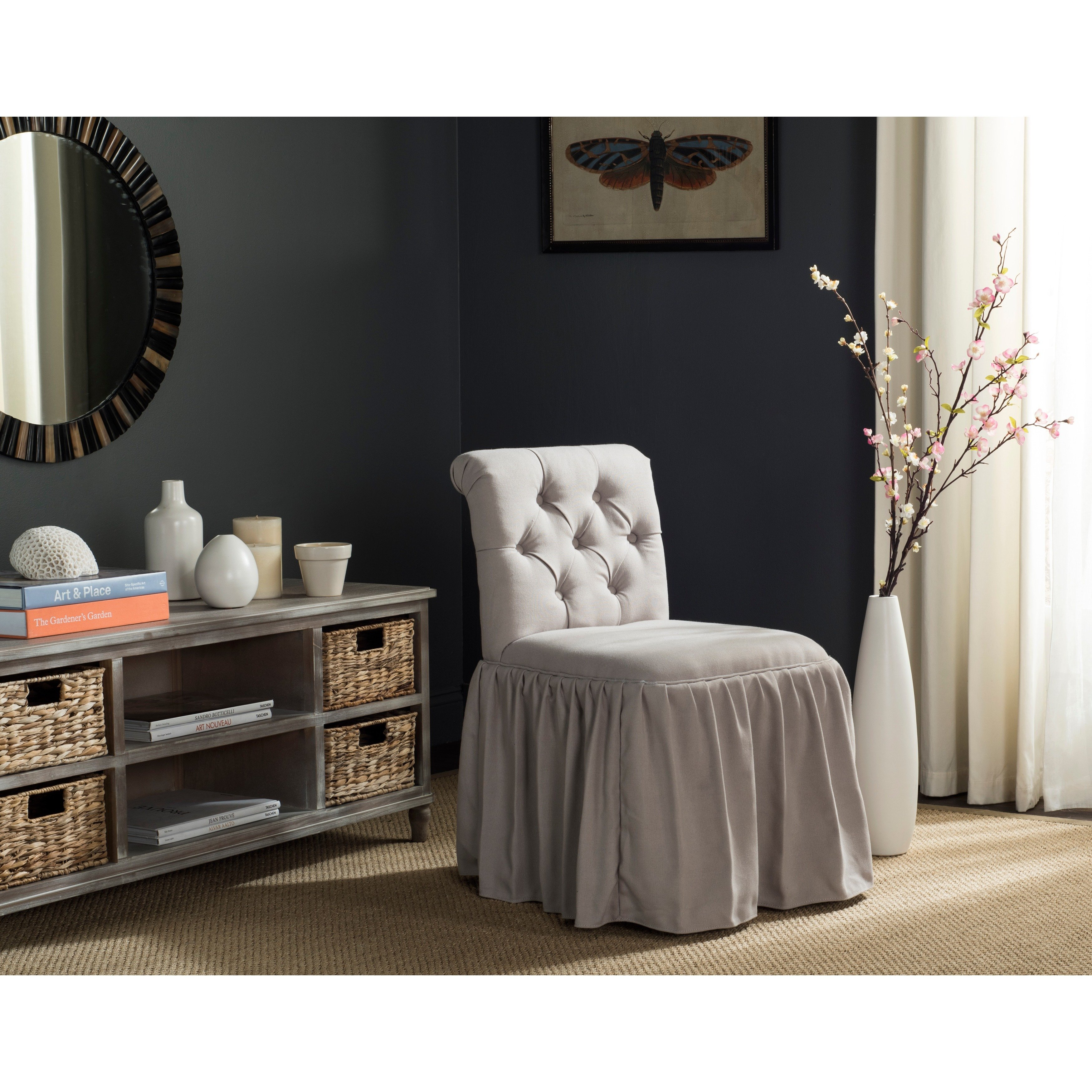 Shop Safavieh Allie Taupe Linen Vanity Chair – Free Shipping Today Regarding Allie Dark Grey Sofa Chairs (Image 23 of 25)