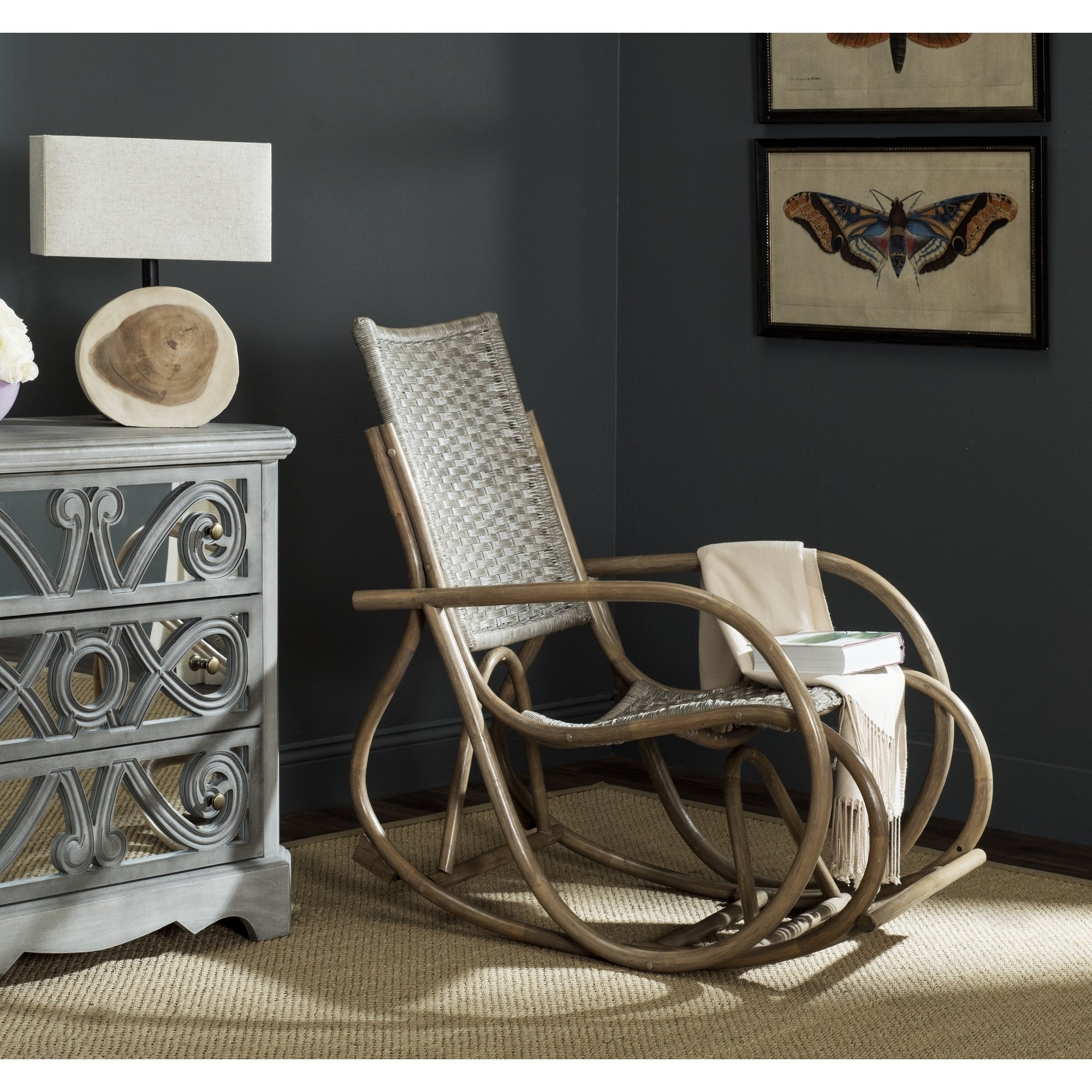 Shop Safavieh Bali Antique Grey Rocking Chair – Free Shipping Today Inside Katrina Blue Swivel Glider Chairs (Image 23 of 25)