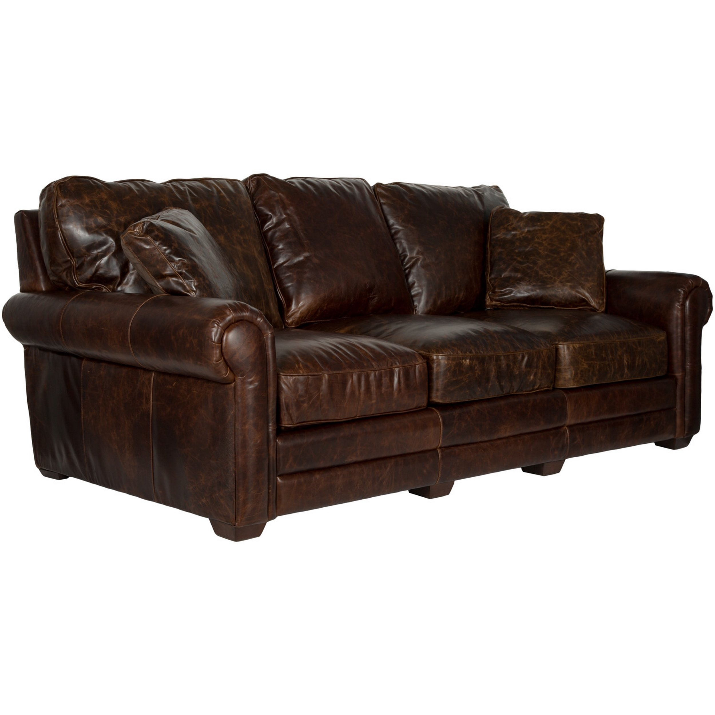 Shop Safavieh Couture High Line Collection Walter Cocoa Leather Sofa With Walter Leather Sofa Chairs (Image 6 of 25)