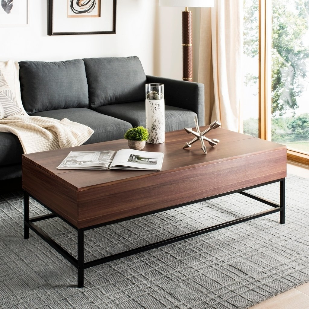 Shop Safavieh Gina Dark Oak/ Black Lift Top Coffee Table – Free Pertaining To Gina Blue Leather Sofa Chairs (Image 25 of 25)