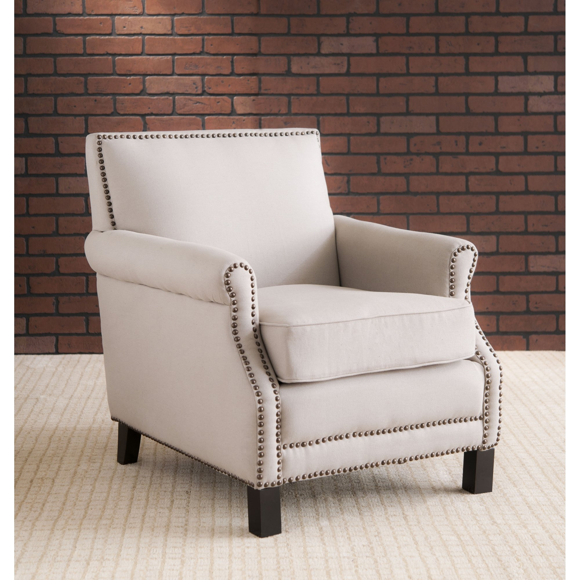 Shop Safavieh Mansfield Beige Club Chair – Free Shipping Today Pertaining To Mansfield Beige Linen Sofa Chairs (Image 22 of 25)