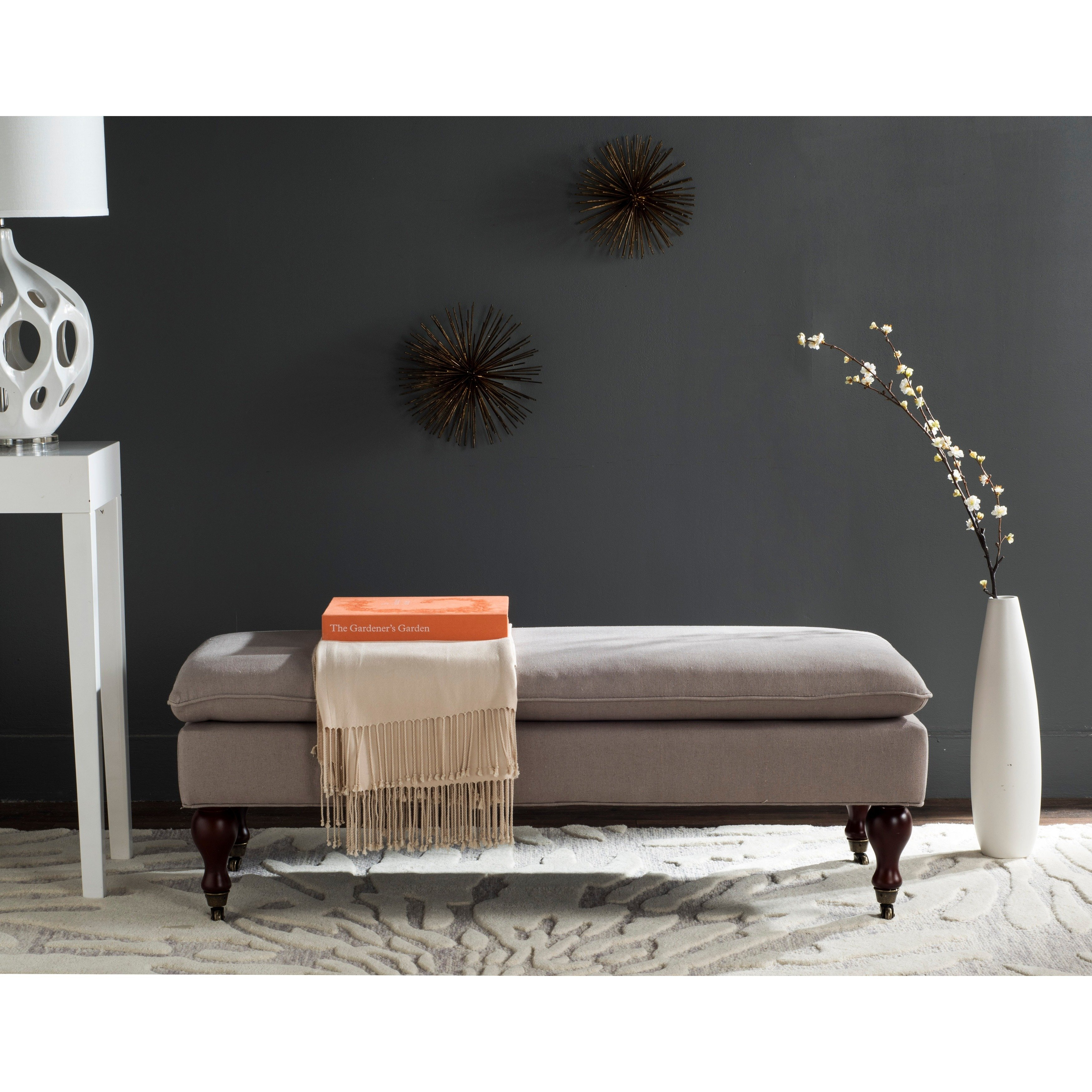 Shop Safavieh Mansfield Linen Pillowtop Ottoman – Free Shipping Throughout Mansfield Beige Linen Sofa Chairs (View 12 of 25)