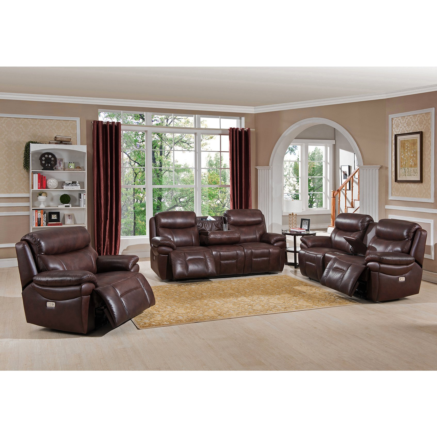 Shop Sanford Leather Power Sofa Recliner With Power Headrests And In Dale Iii Polyurethane Swivel Glider Recliners (Image 23 of 25)