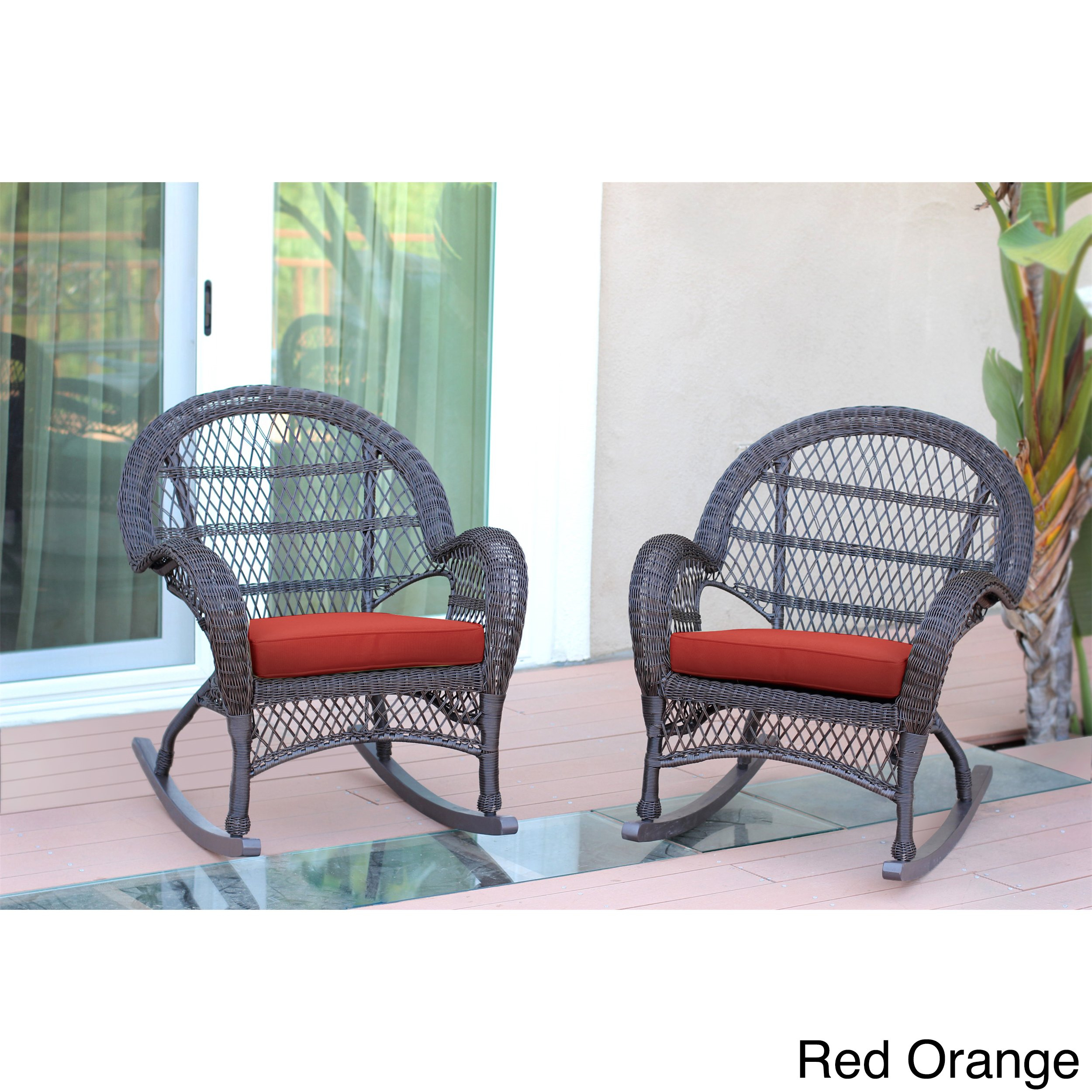 Shop Santa Maria Espresso Wicker Rocker Chair With Cushion (Set Of 2 For Mari Swivel Glider Recliners (View 10 of 25)