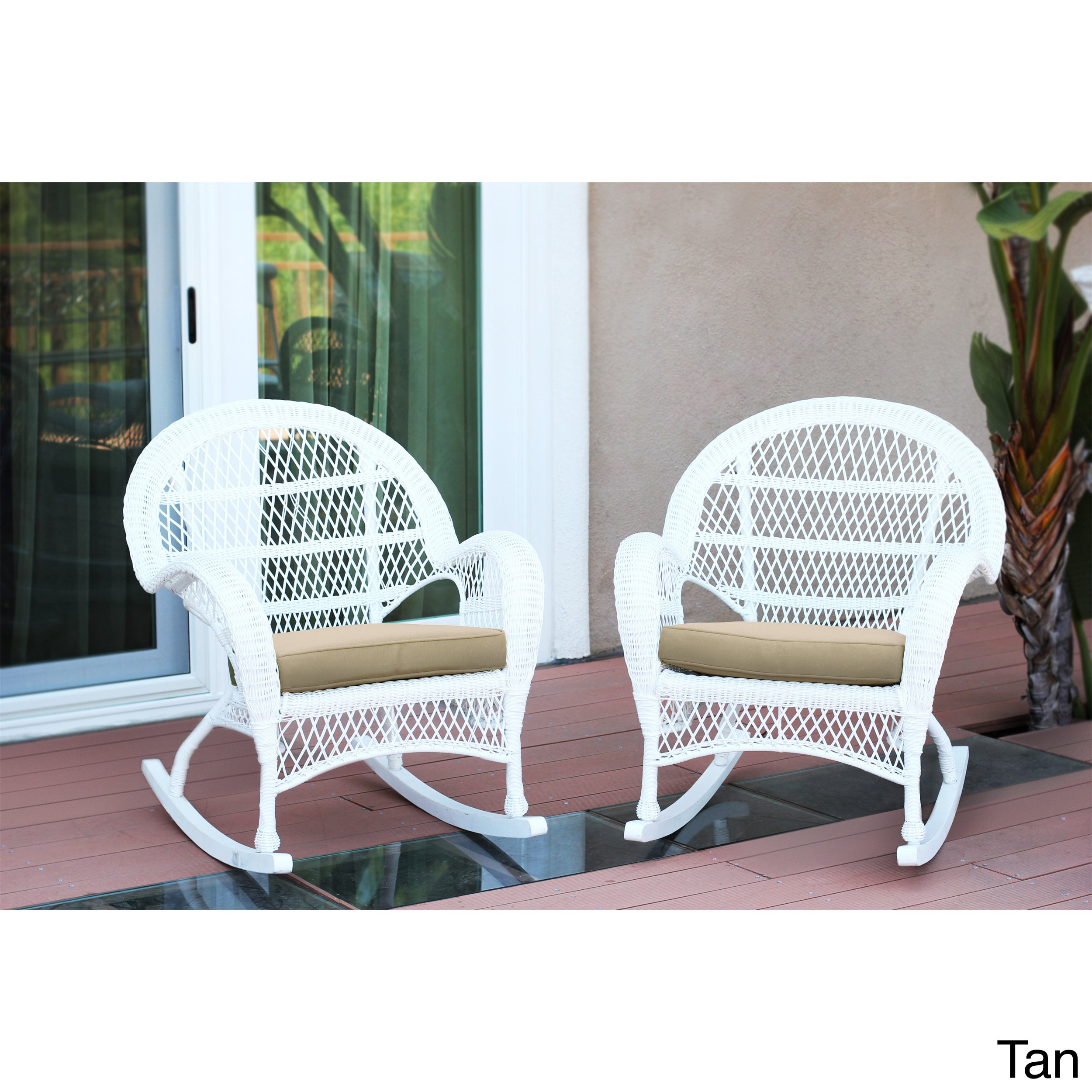 Shop Santa Maria White Rocker Wicker Chair With Cushion (Set Of 2 Regarding Mari Swivel Glider Recliners (View 12 of 25)