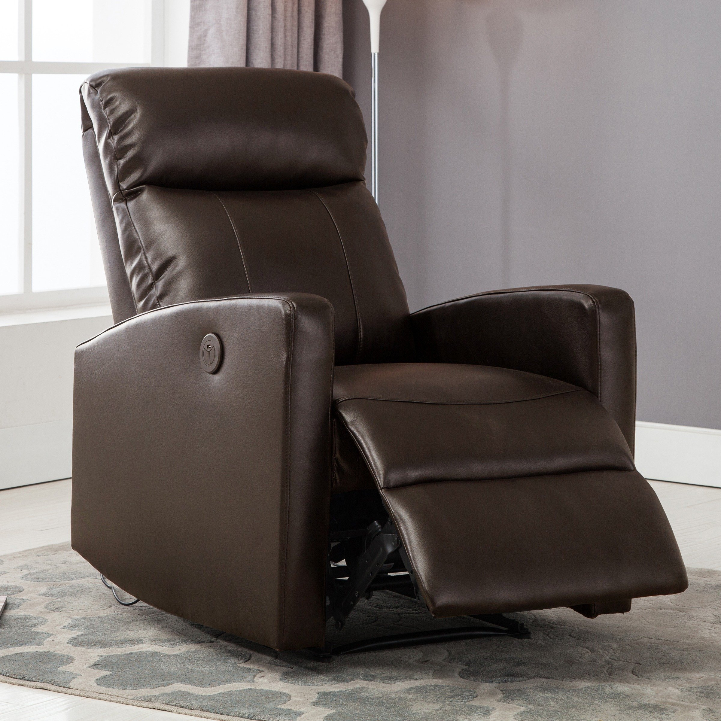 Shop Sean Black Small Reading Power Recliner – Free Shipping Today Pertaining To Gannon Linen Power Swivel Recliners (View 7 of 25)