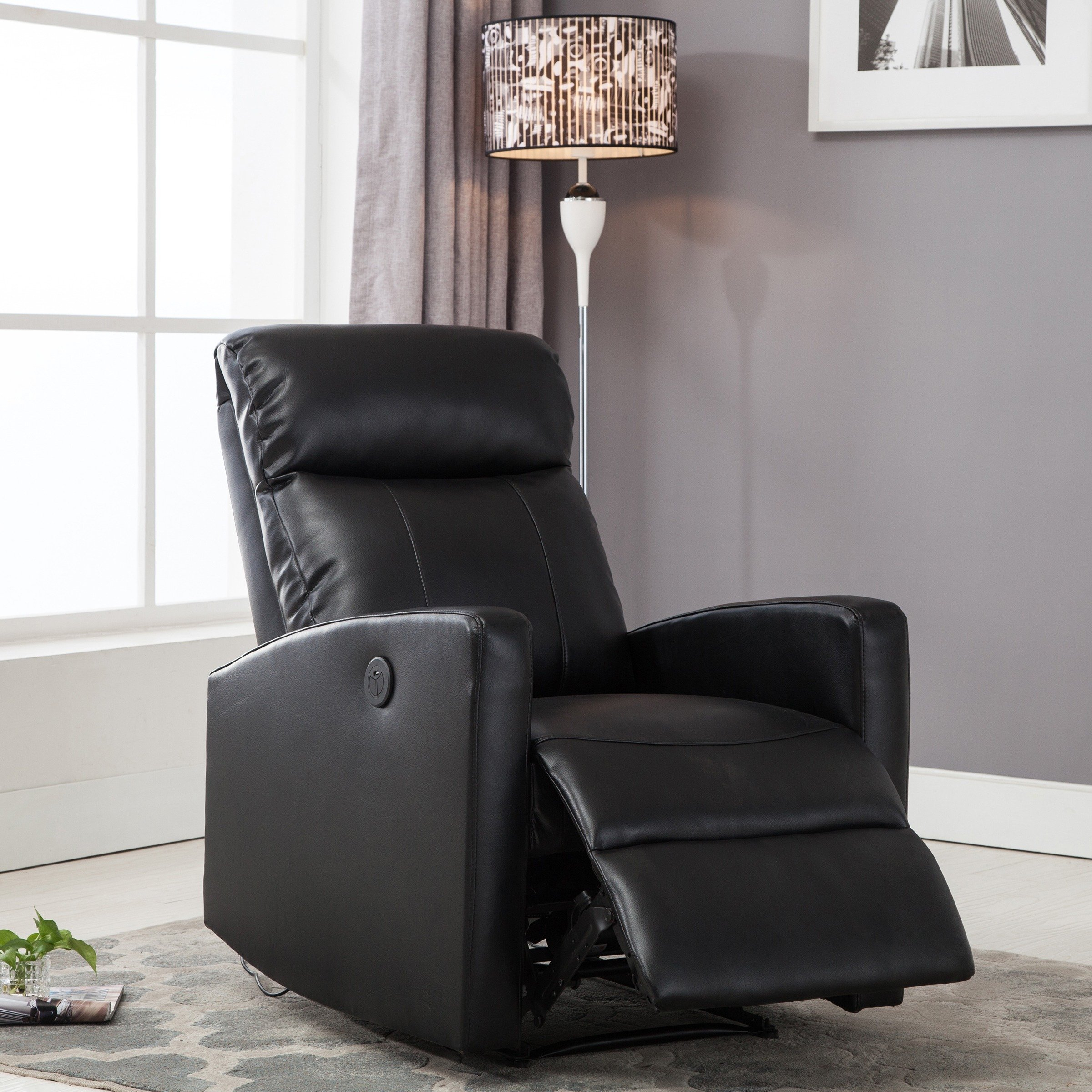 Shop Sean Black Small Reading Power Recliner – Free Shipping Today With Gannon Linen Power Swivel Recliners (View 11 of 25)