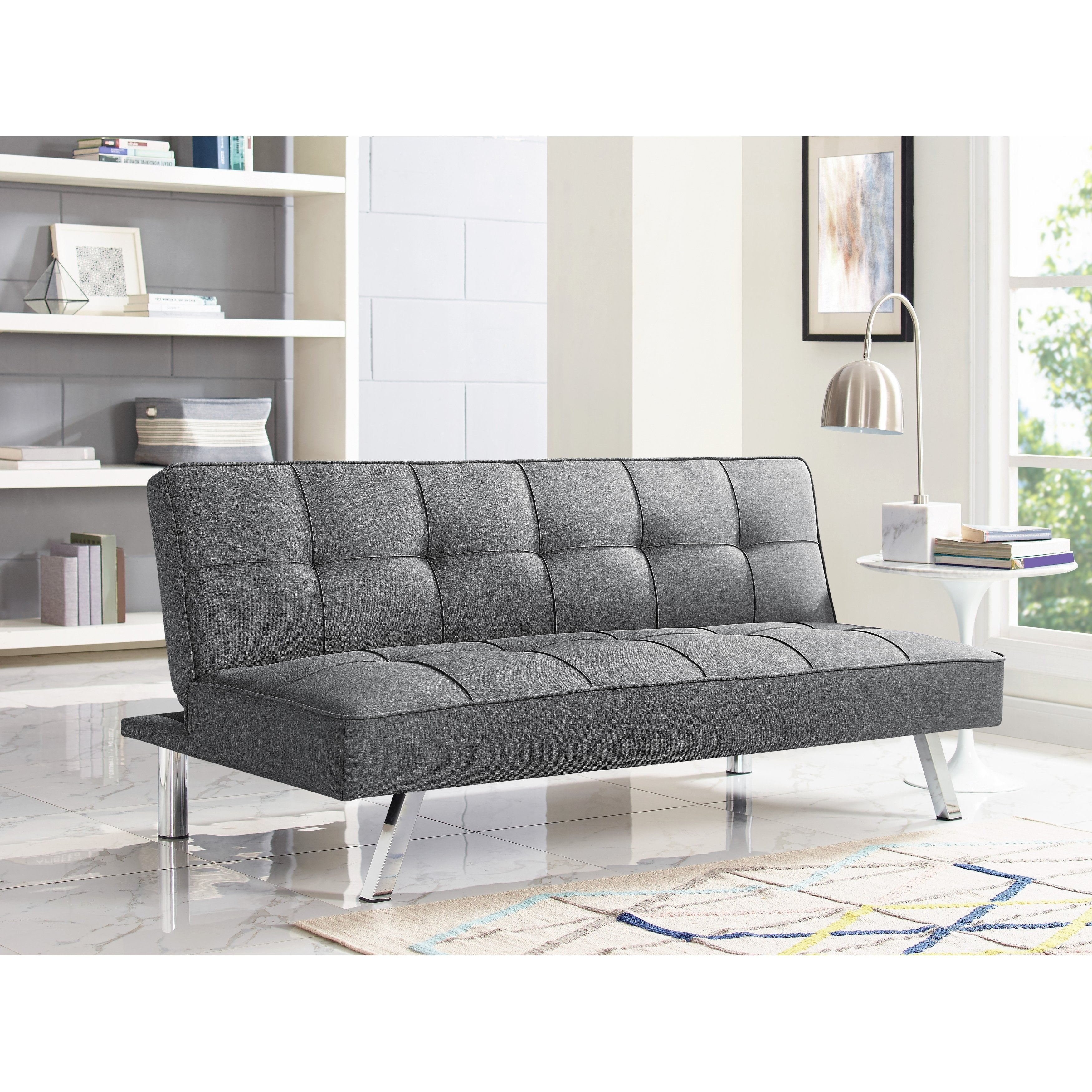 Shop Serta Charlie Tufted Grey Upholstered Convertible Sofa – Free Inside Cohen Foam Oversized Sofa Chairs (View 6 of 25)