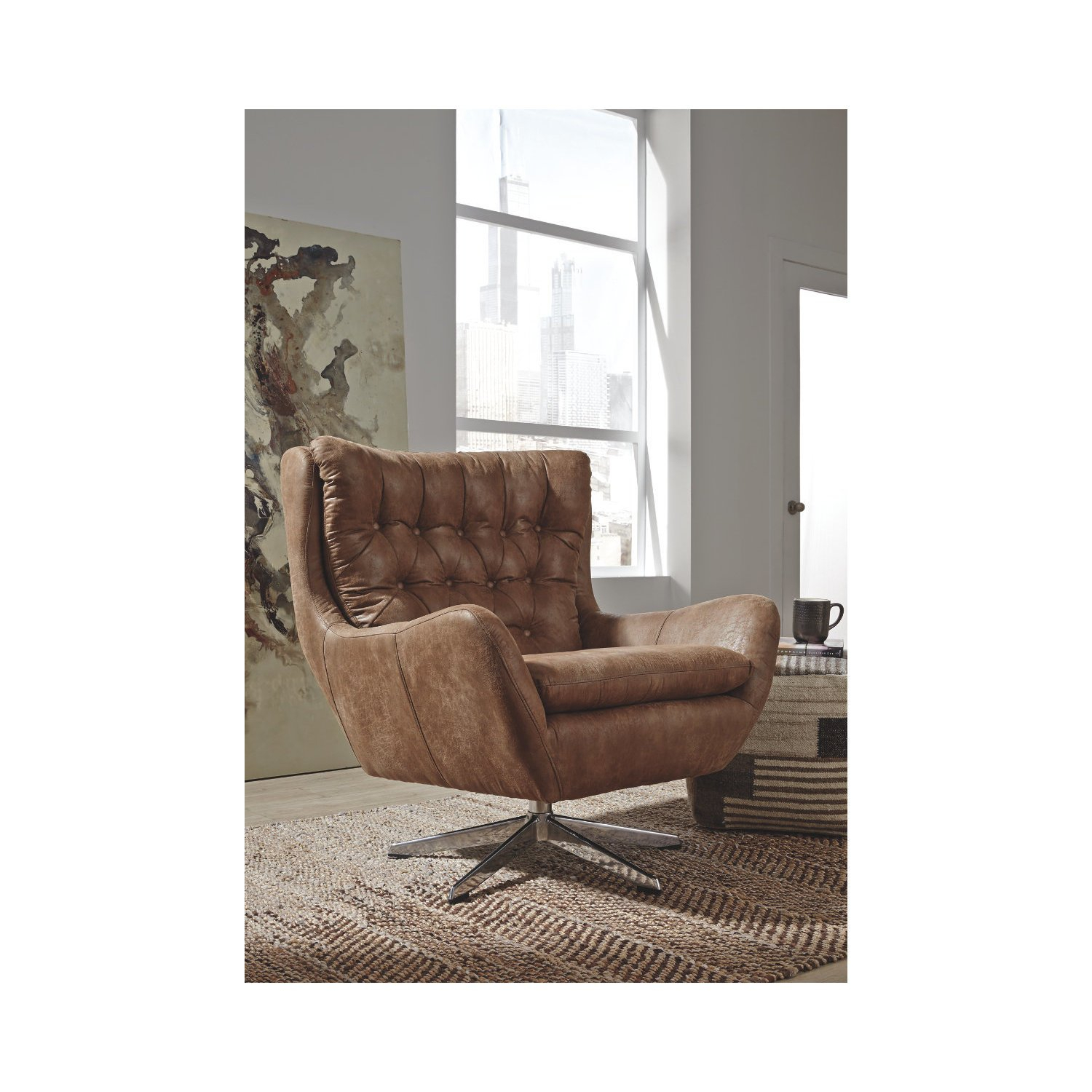 Shop Signature Designashley Velburg Swivel Accent Chair – Free Within Devon Ii Swivel Accent Chairs (View 24 of 25)