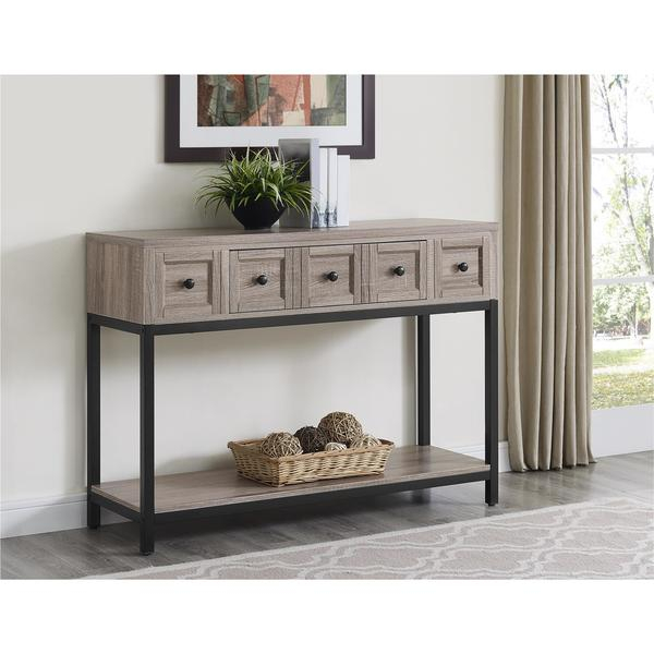Shop The Gray Barn Latigo Sonoma Oak Modern Farmhouse Console Table Within Most Current Layered Wood Small Square Console Tables (Image 13 of 25)