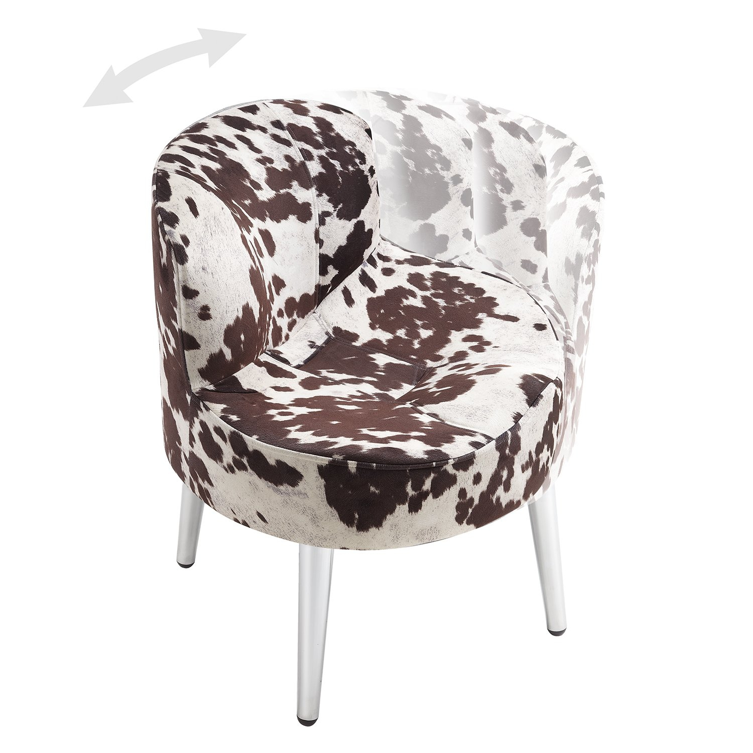 Shop Tribecca Home Bridgeport Ergonomic Contour Cowhide Fabric Inside Circuit Swivel Accent Chairs (View 24 of 25)