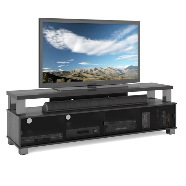 """Shop Two Tier Tv Bench In Ravenwood Black, For Tvs Up To 80"""" – Free With Fashionable Oxford 84 Inch Tv Stands (View 12 of 25)"""