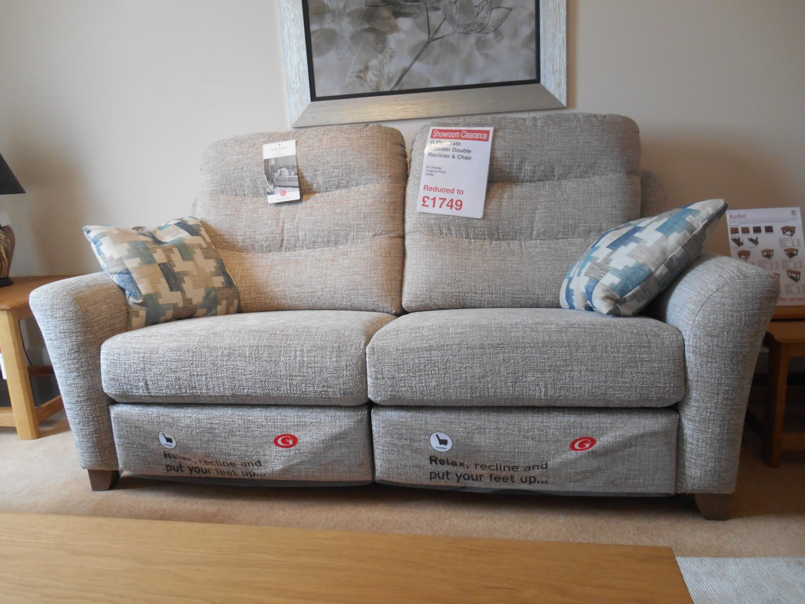 Showroom Clearance: G Plan Tate 3 Seater Double Recliner & Chair With Regard To Tate Ii Sofa Chairs (Image 17 of 25)