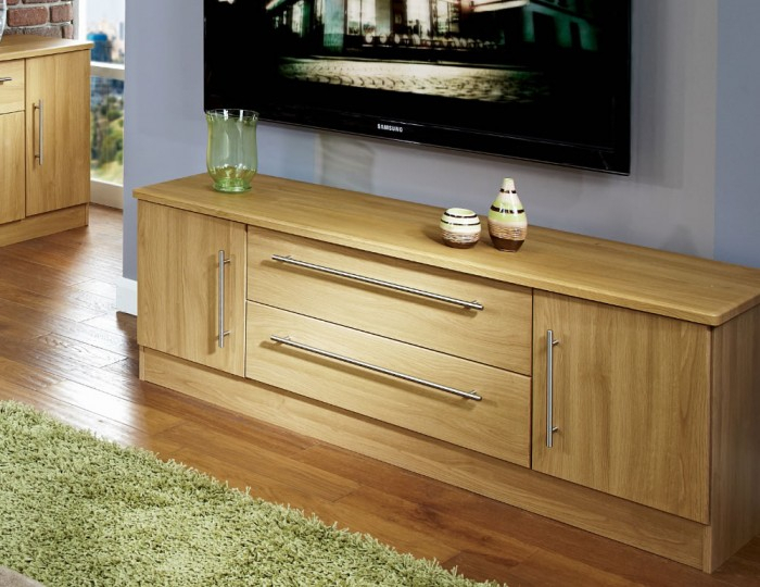 Siero Oak 2 Door 2 Drawer Wide Tv Unit For Well Liked Oak Tv Cabinet With Doors (Image 20 of 25)