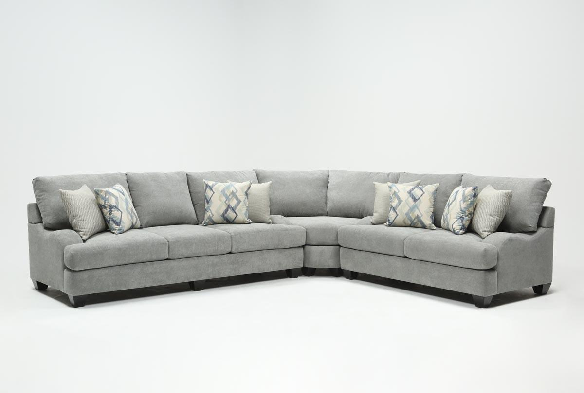 Sierra Foam Ii 3 Piece Sectional | Living Spaces Regarding Mesa Foam Oversized Sofa Chairs (Image 25 of 25)