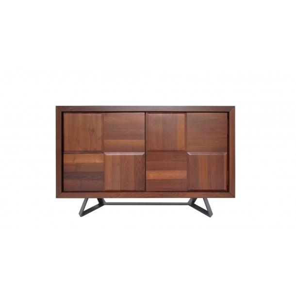 Sierra Sideboard Cabinet In Burnt Oak Wood Top And Matte Black Legs For Current Burnt Oak Metal Sideboards (Image 16 of 25)