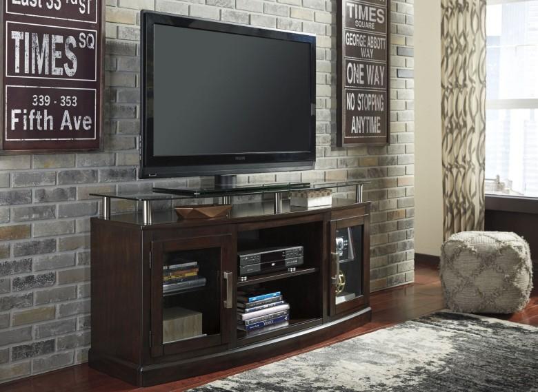 Signature Designashley Chanceen Dark Brown Medium Tv Stand Regarding Recent Abbot 60 Inch Tv Stands (Image 20 of 25)