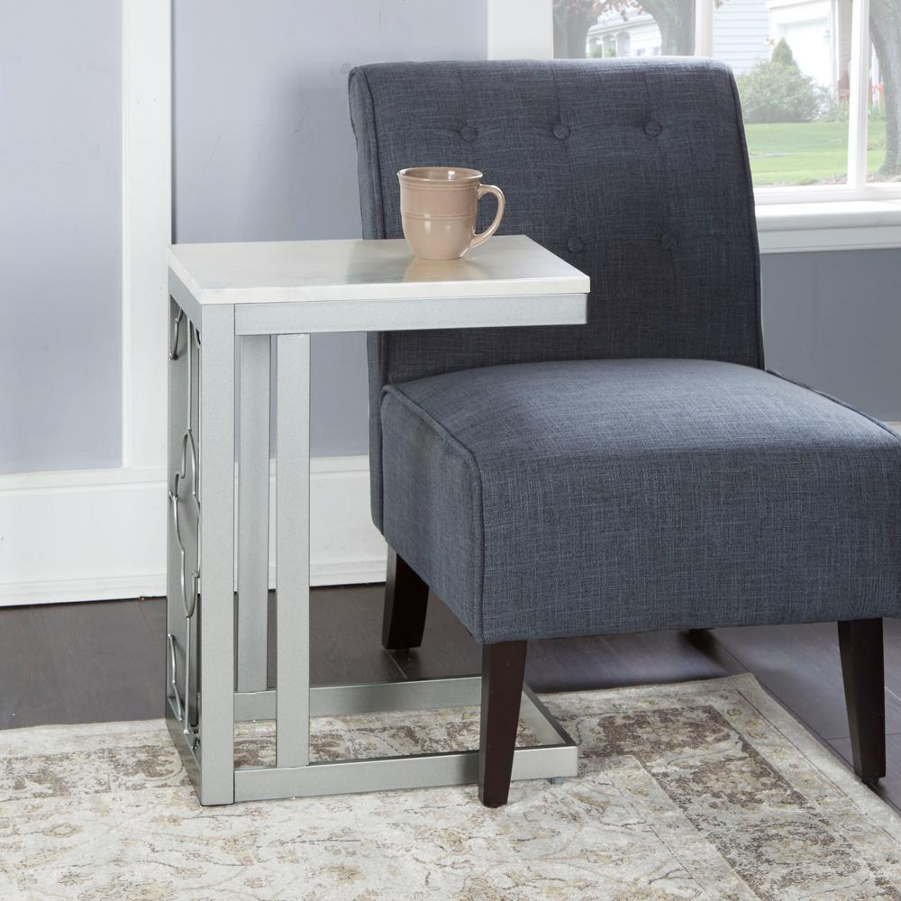 Silverwood Quinn Silver Double Square Quatrefoil C Table Cpft1322B Regarding Quinn Teak Sofa Chairs (Image 20 of 25)