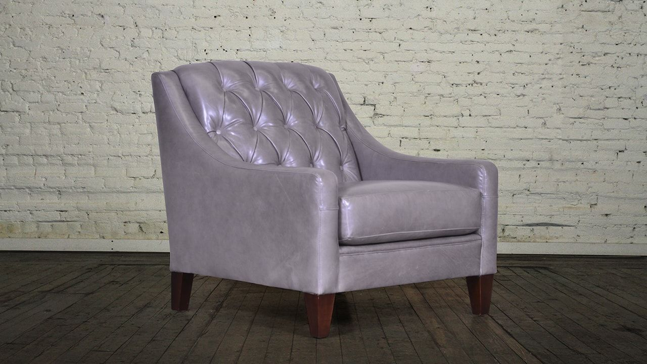Slope Arm Tufted Back Leather Chair | It's My House / And I Live Throughout Liv Arm Sofa Chairs (View 10 of 25)