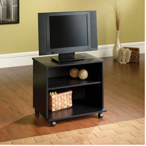 Small Entertainment Center Portable Tv Stand Mobile Cart Wood Media With Regard To Most Recent Small Tv Stands On Wheels (View 8 of 25)
