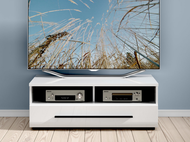 Small Tv Cabinet Unit With Drawer Fever White Gloss Or Oak Black Within Popular Tv Bench White Gloss (View 13 of 25)