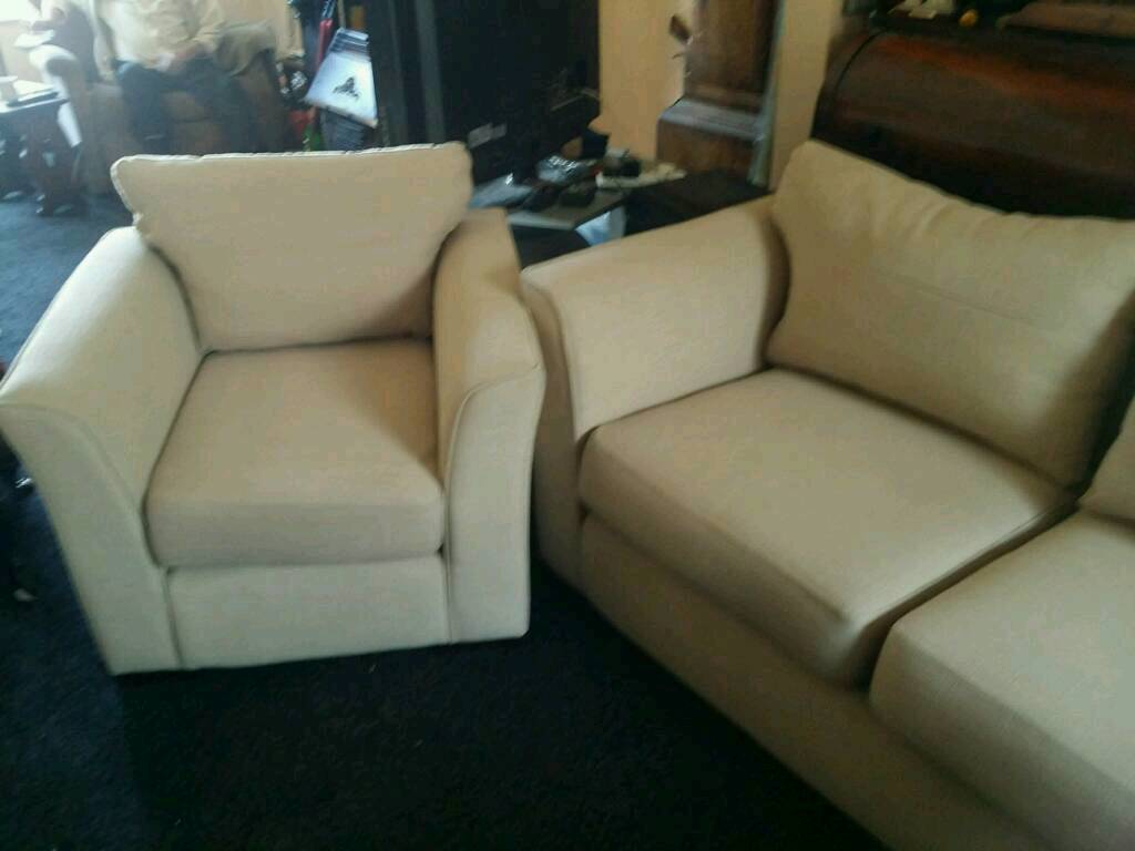 Sofa/settee And 2 Chairs 3Peice Suite | In Exeter, Devon | Gumtree Inside Devon Ii Arm Sofa Chairs (View 17 of 25)