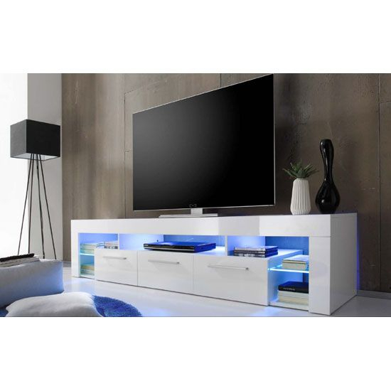 Sorrento Large Tv Stand In White High Gloss With Blue Led Light With Most Up To Date Dixon White 65 Inch Tv Stands (Image 21 of 25)