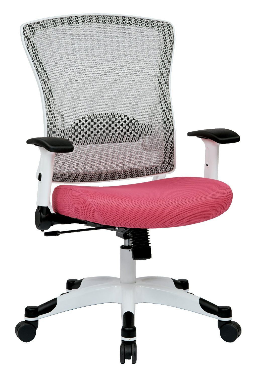 Space Seating 317W-W1C1F2W-261 White Frame Managers Chair (Pink for Chadwick Gunmetal Swivel Chairs