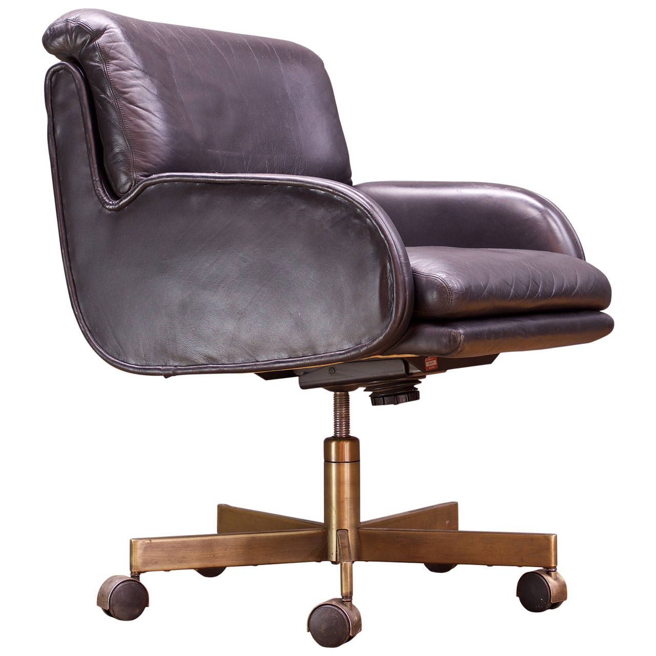 Sprunger Dunbar Black Leather And Bronze Office Chair | Dekorasyon Pertaining To Outdoor Koro Swivel Chairs (Image 23 of 25)