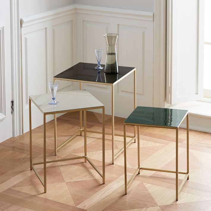 Square Enamel Brass 3 Piece Nesting Tables Throughout Most Recent Oak & Brass Stacking Media Console Tables (Image 17 of 25)