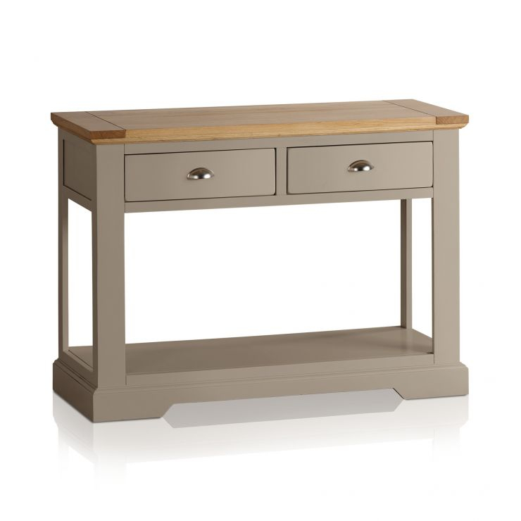 St Ives Grey Console Table With Brushed Oak Top with Widely used Natural Wood Mirrored Media Console Tables