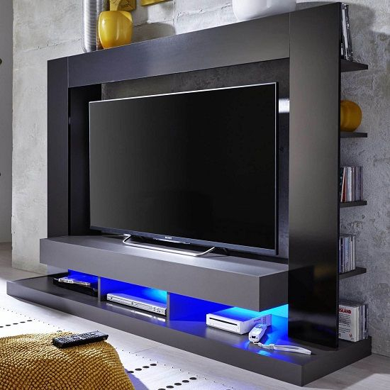 Stamford Entertainment Unit In Black Gloss Fronts With Shelving Intended For Current Black Gloss Tv Stands (Image 20 of 25)