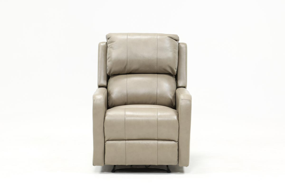 Stanford Leather Mushroom Power Wallaway Recliner | Living Spaces Within Chadwick Gunmetal Swivel Chairs (View 7 of 25)