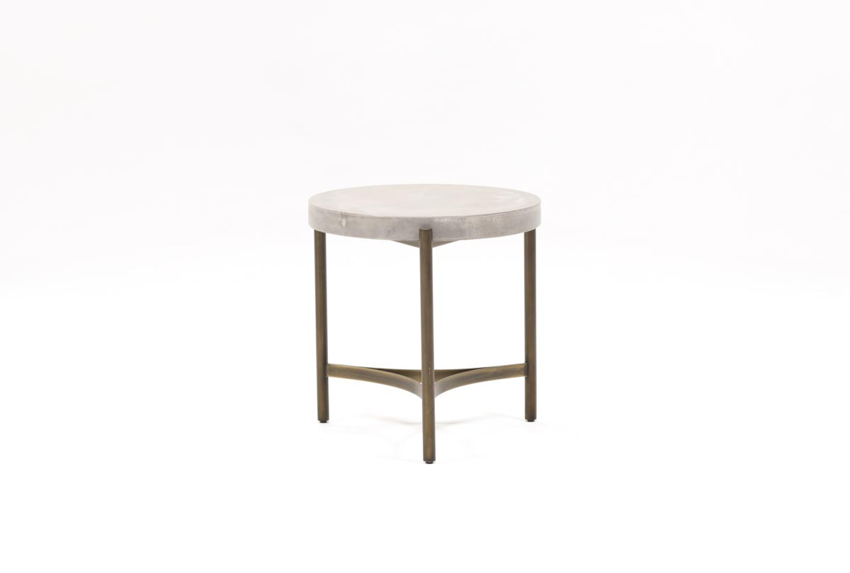 Stratus End Table | Living Spaces Pertaining To Moana Taupe Leather Power Reclining Sofa Chairs With Usb (Image 24 of 25)