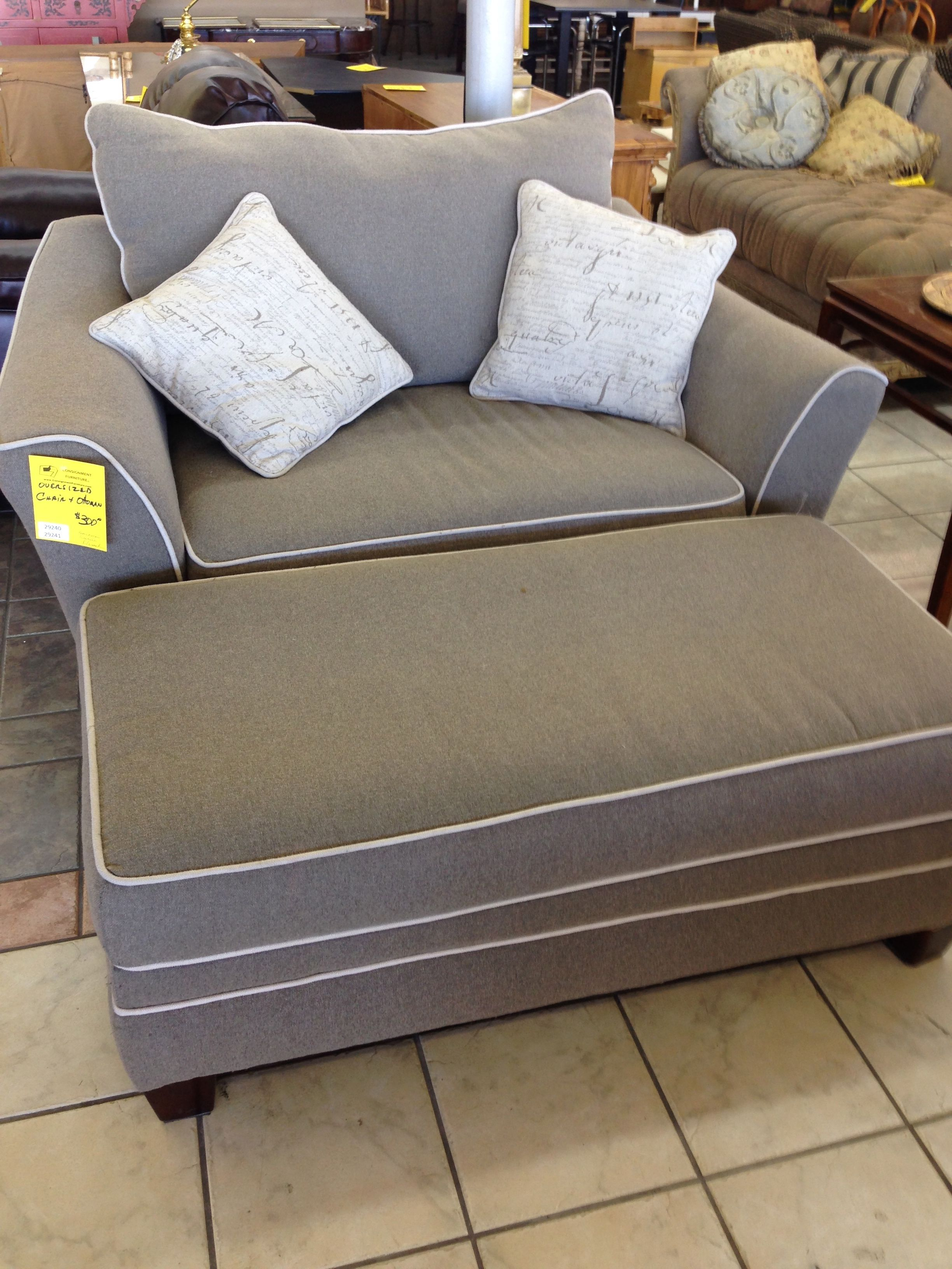 Stylish Grey Fabric Oversized Chairs With Rectangle Ottoman In With Regard To Maddox Oversized Sofa Chairs (View 2 of 25)