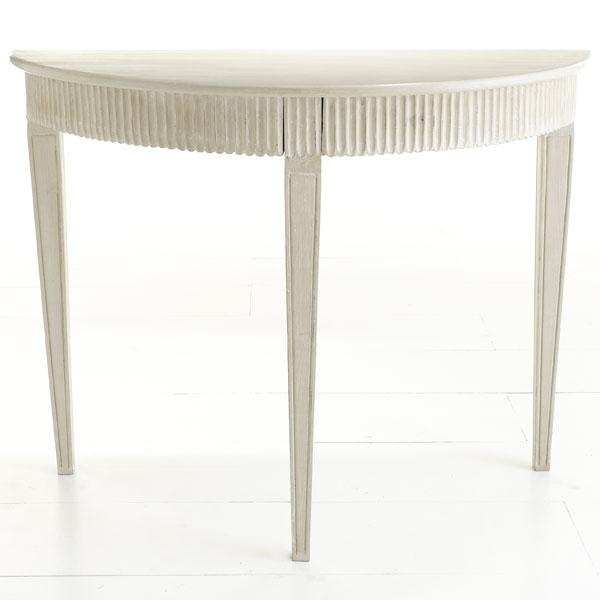 Swedish Demilune Console – Ivory – Wisteria Within Widely Used Hand Carved White Wash Console Tables (Image 19 of 25)
