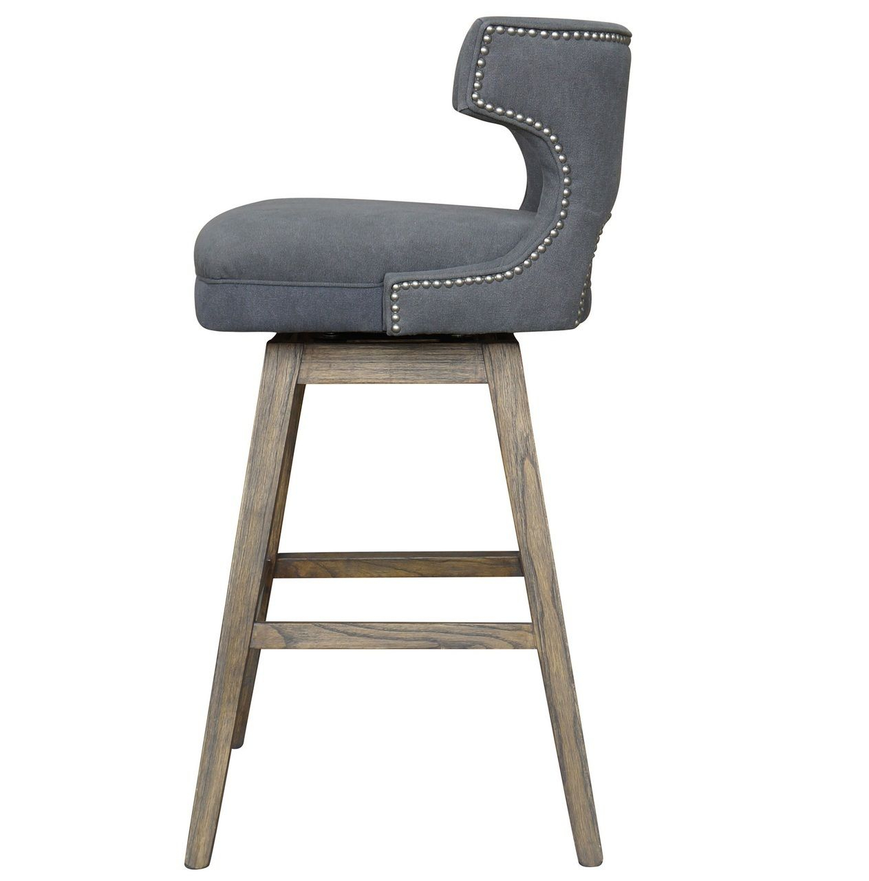 Task Dark Gray Nailhead Wing Swivel Bar Stool | Kitchen | Pinterest Within Loft Smokey Swivel Accent Chairs (View 25 of 25)