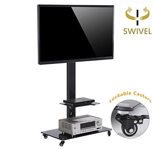 Tavr Moblile Floor Tv Stand Cart With Audio Shelf And Heavy Duty Inside Most Current Lockable Tv Stands (Image 16 of 25)