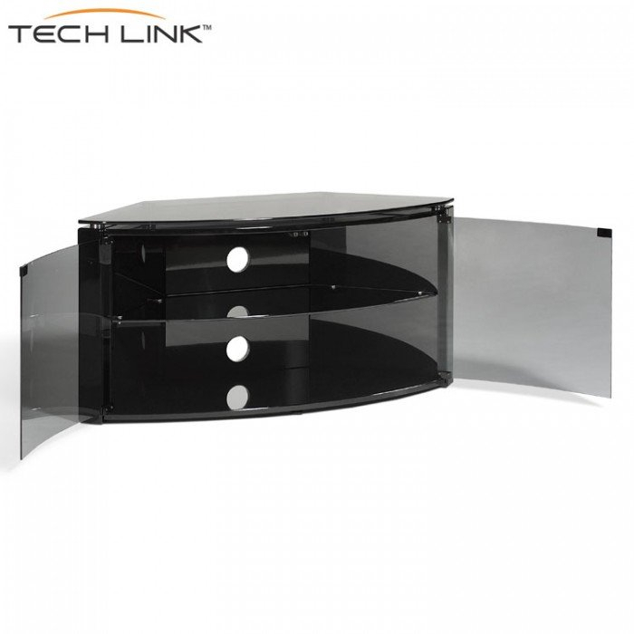 Techlink B6B Bench Piano Gloss Black With Smoked Glass Corner Tv Inside Most Up To Date Corner Tv Cabinets With Glass Doors (View 2 of 25)