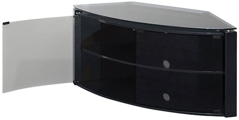 Techlink Bench Piano Black Corner Tv Stand With Glass Doors Intended For Most Popular Corner Tv Cabinets With Glass Doors (View 3 of 25)