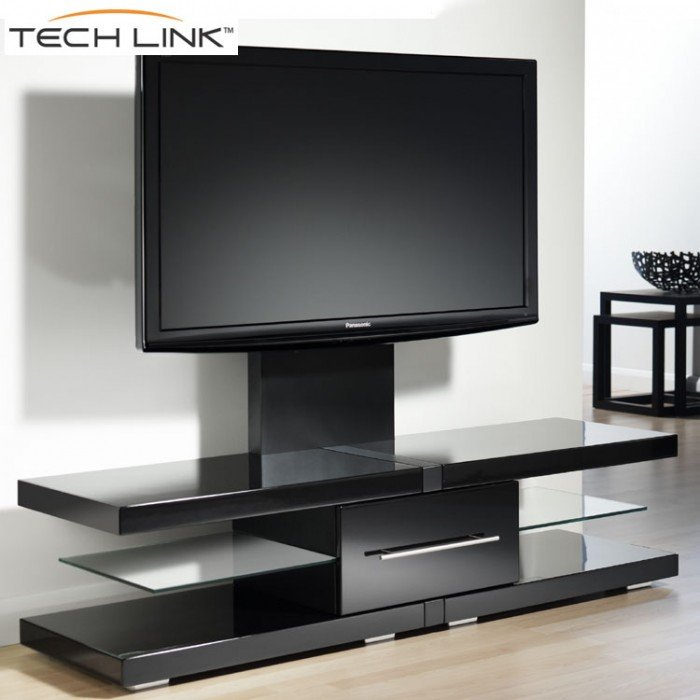 Techlink Ec130Tvb Echo Tv Piano Gloss Black Cantilever Tv Stand (405709) In Most Up To Date Techlink Echo Ec130Tvb Tv Stand (Image 15 of 25)