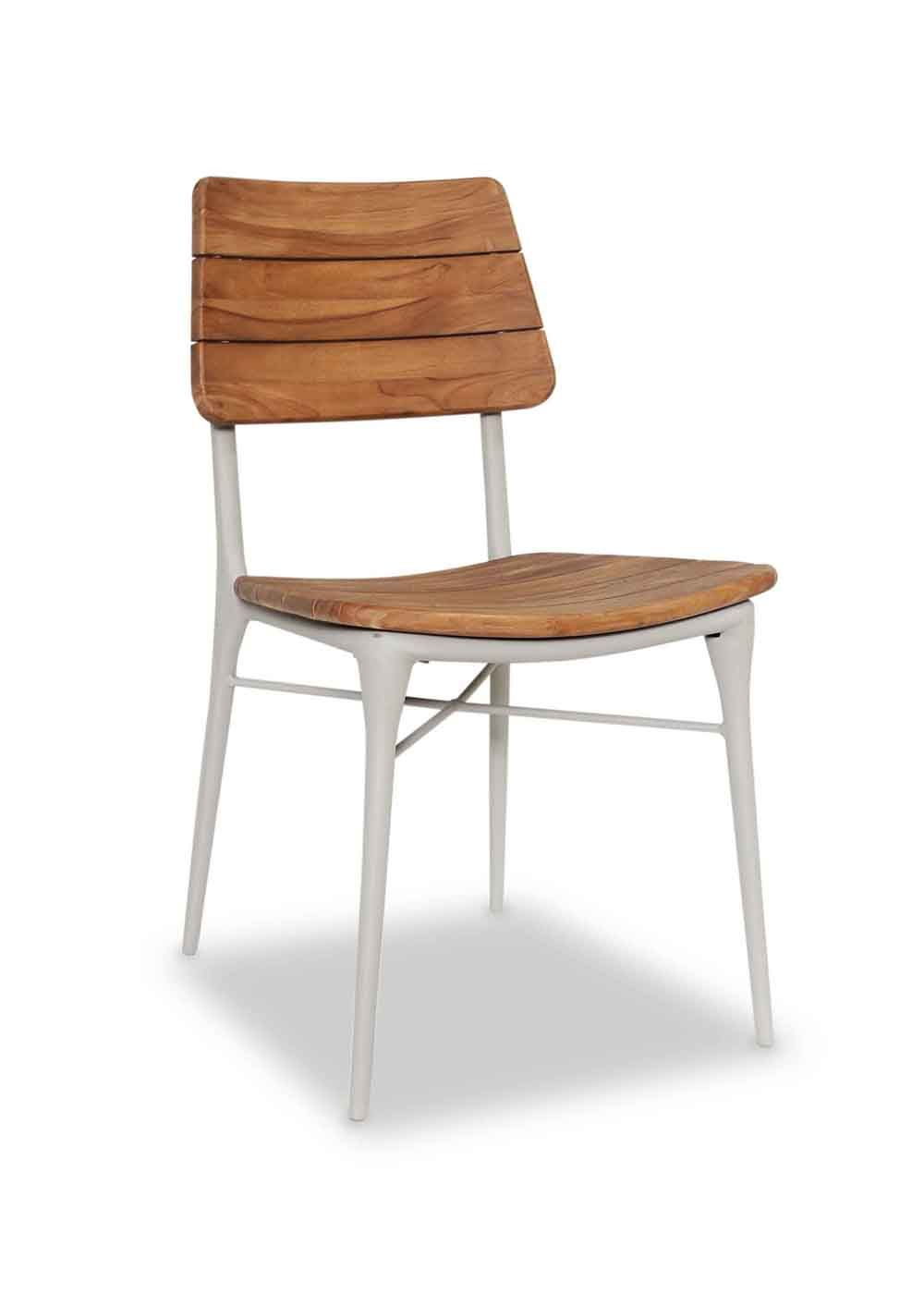 The Astrea Side Chair Is Cast Aluminum With A Teak Wood Seat And Intended For Quinn Teak Sofa Chairs (Image 23 of 25)