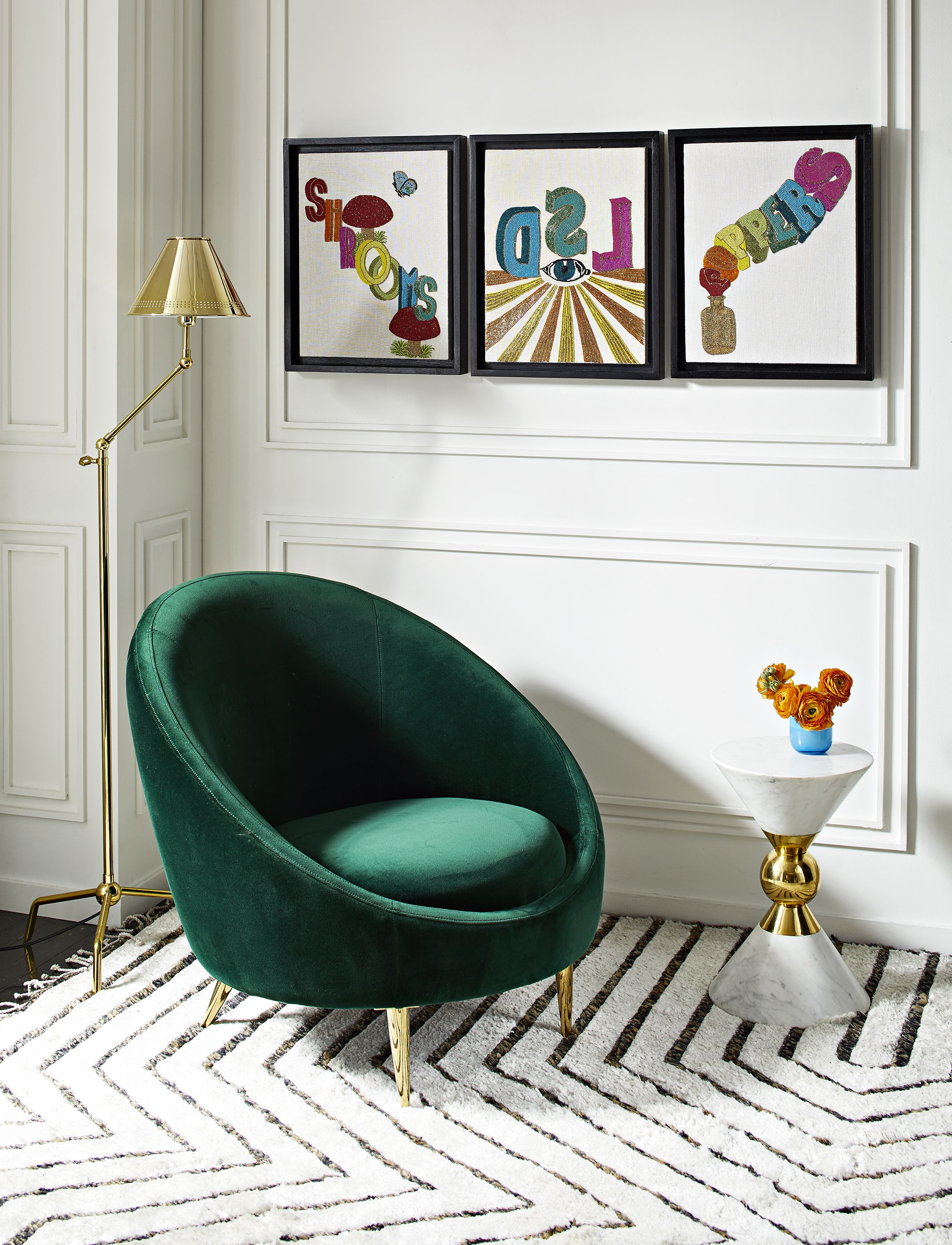 The Jonathan Adler Ether Club Chair In Rialto Emerald (Green Velvet Regarding Alder Grande Ii Swivel Chairs (View 8 of 25)