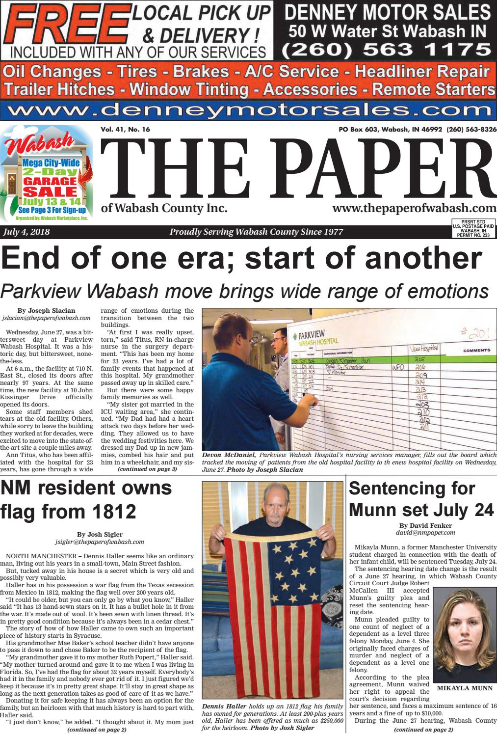The Paper Of Wabash County — July 4 Issuethe Paper Of Wabash Intended For Allie Jade Sofa Chairs (View 15 of 25)