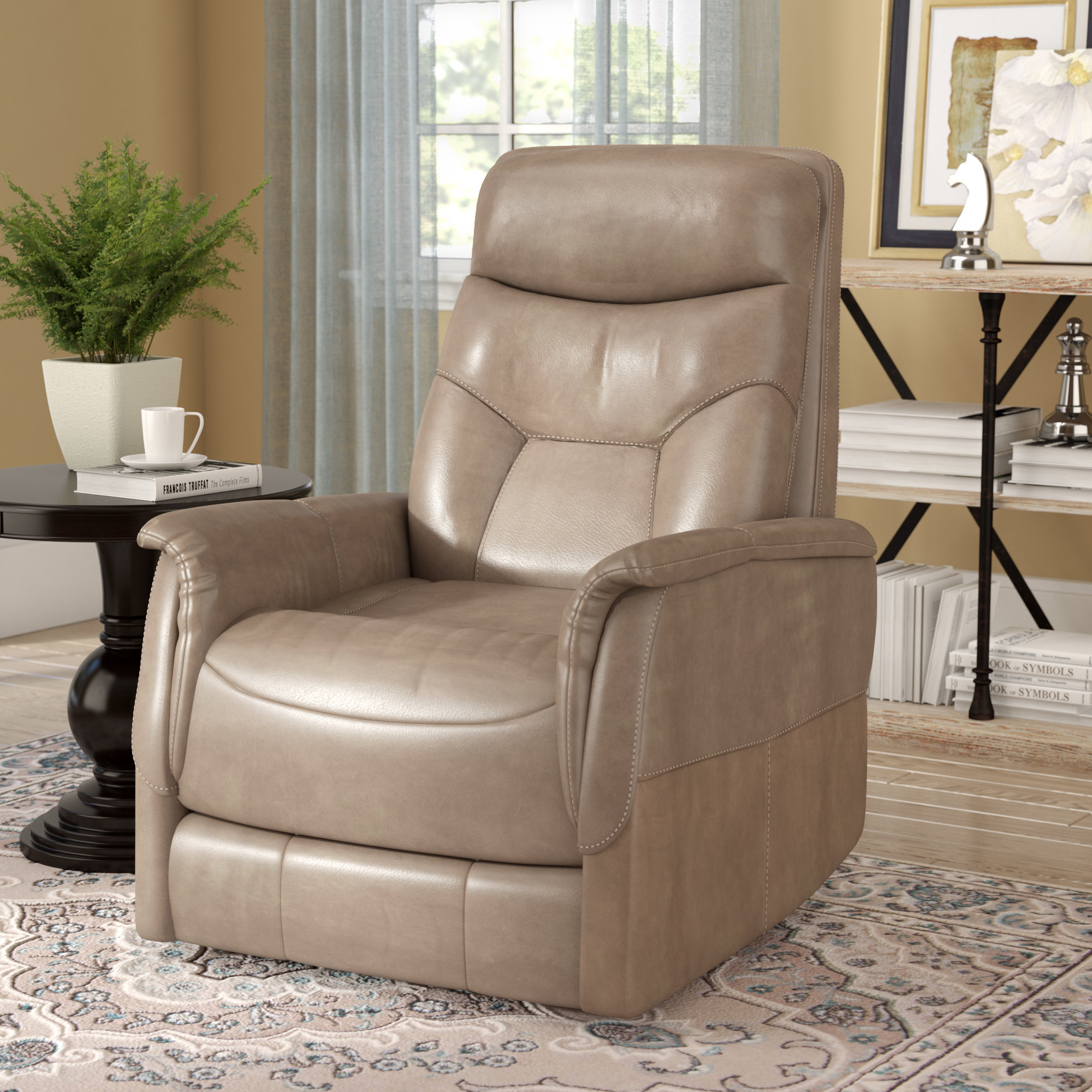 Three Posts Haliburton Power Glider Swivel Recliner & Reviews | Wayfair With Gannon Linen Power Swivel Recliners (View 8 of 25)